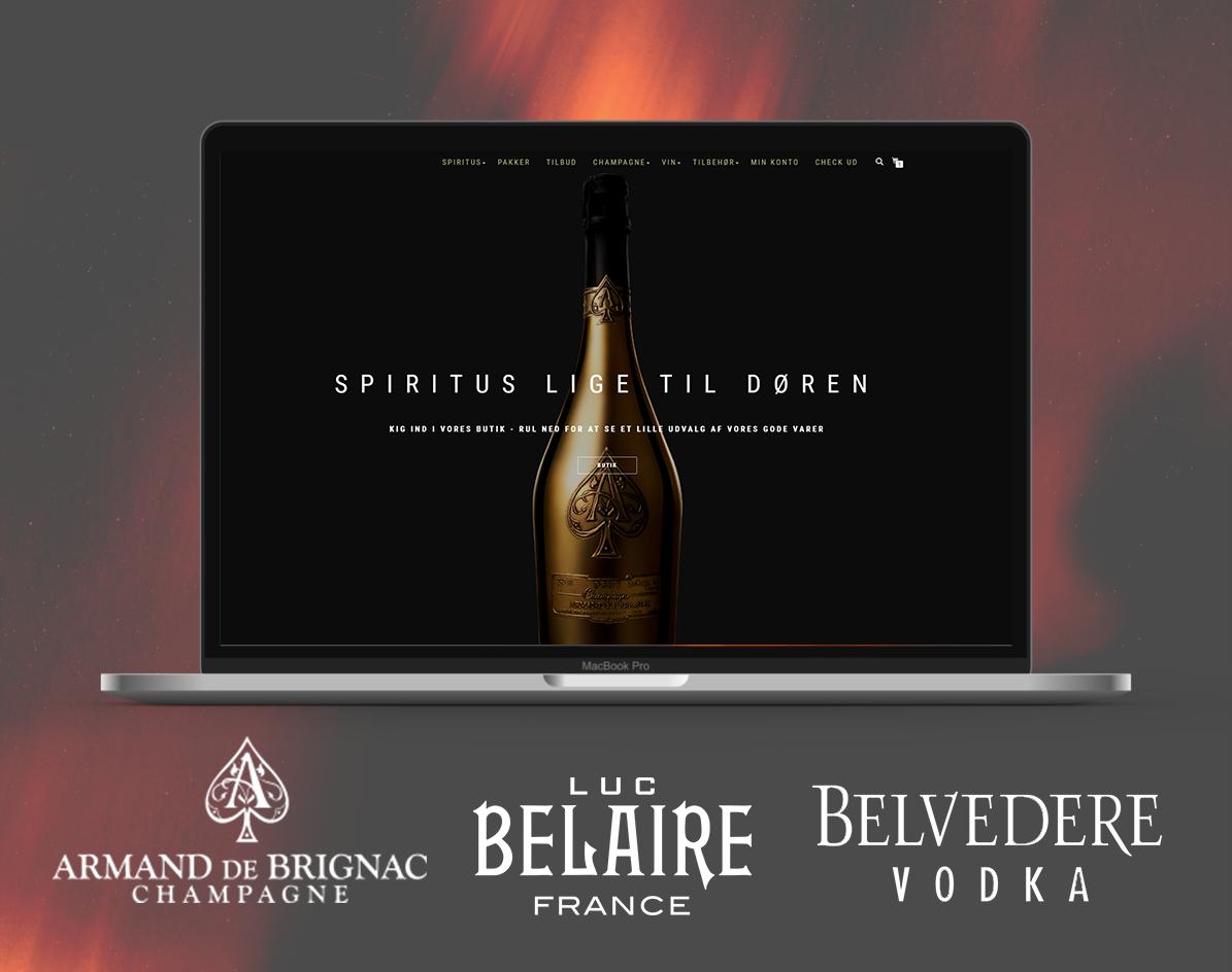 Webshop med salg af spiritus - Agentur på, Rom, Gin (flere) whisky, vine, champagne m.m