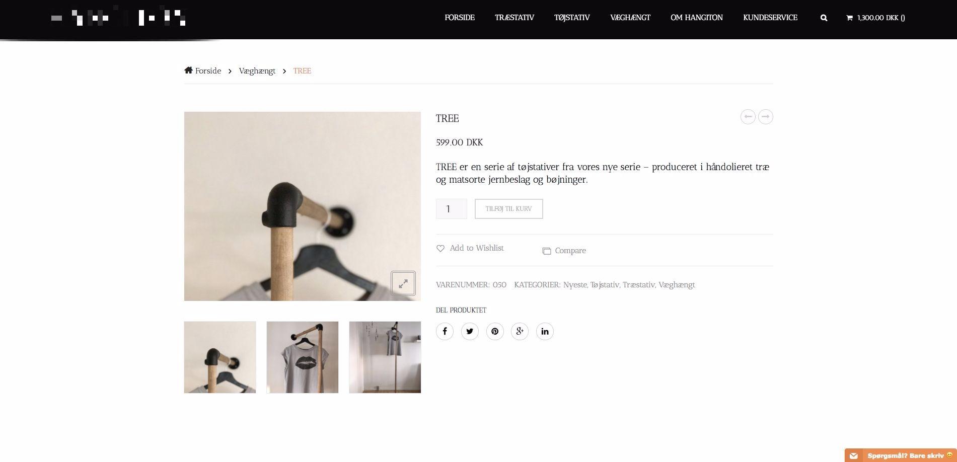 Webshop med salg af tøjstativer i vandrør