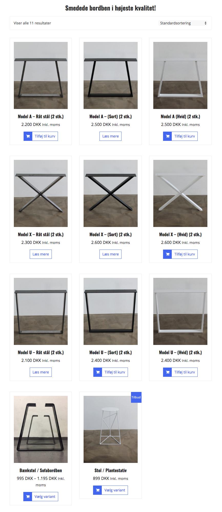 AX-bordben: Webshop med salg af smedede bordstel til plankeborde