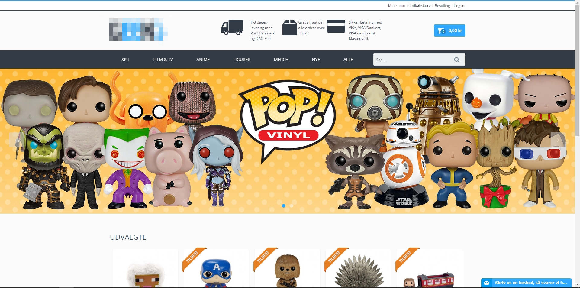 Webshop med salg af merchandise og gadgets fra spil, film og tv